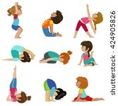 little girls doing yoga set of... | Shutterstock .eps vector #424905826
