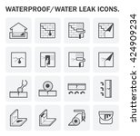 waterproofing and water leaked... | Shutterstock .eps vector #424909234