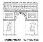 hand drawn architecture sketch... | Shutterstock .eps vector #424909558