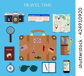 icons set of planning a summer ... | Shutterstock . vector #424910920