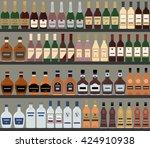 supermarket shelves with... | Shutterstock .eps vector #424910938