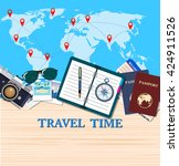 travel and adventure template | Shutterstock . vector #424911526