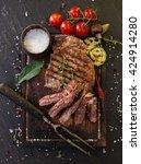 Delicious Beef Steak On Black...