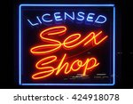 neon sign advertising an adult... | Shutterstock . vector #424918078