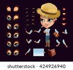casual farmer girl character... | Shutterstock .eps vector #424926940