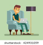 man with laptop relaxing in... | Shutterstock .eps vector #424931059
