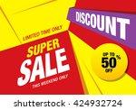 super sale banner  poster. sale ... | Shutterstock .eps vector #424932724