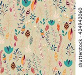 seamless pattern design with... | Shutterstock .eps vector #424942060