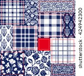 blue  white and red patchwork.... | Shutterstock .eps vector #424942300