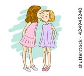 Two Cute Cartoon Girls Best...