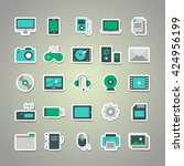 set of 25 vector stickers with... | Shutterstock .eps vector #424956199