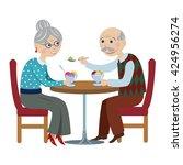 happy cartoon grandparents.an... | Shutterstock .eps vector #424956274