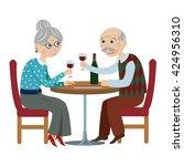 happy cartoon grandparents... | Shutterstock .eps vector #424956310
