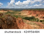 red tsingy   stone formation of ... | Shutterstock . vector #424956484