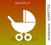 flat baby carriage vector icon. | Shutterstock .eps vector #424957723
