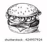 vector black hand drawn... | Shutterstock .eps vector #424957924