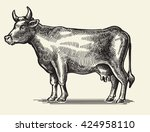 vector black hand drawn cow on... | Shutterstock .eps vector #424958110