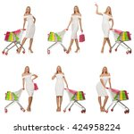 woman in shopping concept... | Shutterstock . vector #424958224