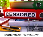 censored   red ring binder on... | Shutterstock . vector #424958899