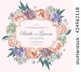 wedding invitation with peony... | Shutterstock .eps vector #424962118
