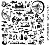 war   doodles set | Shutterstock .eps vector #424974754