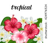 seamless border with tropical... | Shutterstock .eps vector #424976524