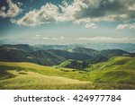 summer mountains green grass... | Shutterstock . vector #424977784