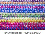 home made colored crochet... | Shutterstock . vector #424983430