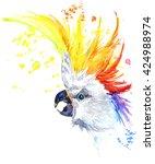 watercolor parrot illustration. ... | Shutterstock . vector #424988974