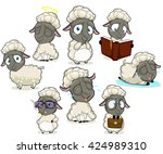 big collection of dark sheep... | Shutterstock .eps vector #424989310