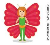 child wearing costume of... | Shutterstock .eps vector #424992850