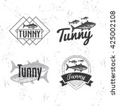 vector black and white set with ... | Shutterstock .eps vector #425002108