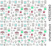 seamless pattern with online... | Shutterstock .eps vector #425023060