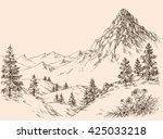 nature in the mountains vector | Shutterstock .eps vector #425033218