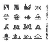 earthquake icons set