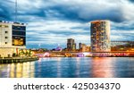 belfast skyline at night over...   Shutterstock . vector #425034370