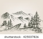nature drawing  a hut in the... | Shutterstock .eps vector #425037826