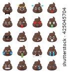 biggest set of poo emoticons.... | Shutterstock .eps vector #425045704