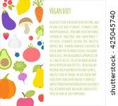 vegan diet brochure. vector... | Shutterstock .eps vector #425045740