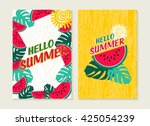 hello summer set of greeting... | Shutterstock .eps vector #425054239