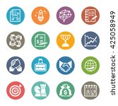 business   management icons set ... | Shutterstock .eps vector #425058949