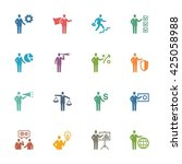 business   management icons set ... | Shutterstock .eps vector #425058988