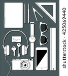 flat lay with objects on grey... | Shutterstock .eps vector #425069440