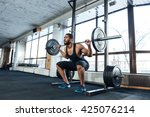 muscular fitness man doing... | Shutterstock . vector #425076214