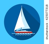 sail yacht boat flat icon... | Shutterstock .eps vector #425077318