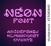 neon tube hand drawn alphabet... | Shutterstock .eps vector #425080840