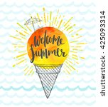 summer holidays hand drawn... | Shutterstock .eps vector #425093314