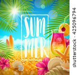 summer holidays greeting card... | Shutterstock .eps vector #425096794