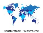 world map flat vector | Shutterstock .eps vector #425096890