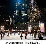 MANHATTAN - DECEMBER 4: A Nighttime view of Bryant Park and the skating rink after the Christmas Tree lighting on Dec 4, 2009 in New York City. - stock photo